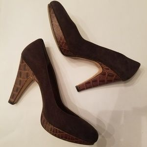 Brown Suede Animal Print Heel